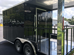 Side View of Black Food Trailer in Tampa Florida