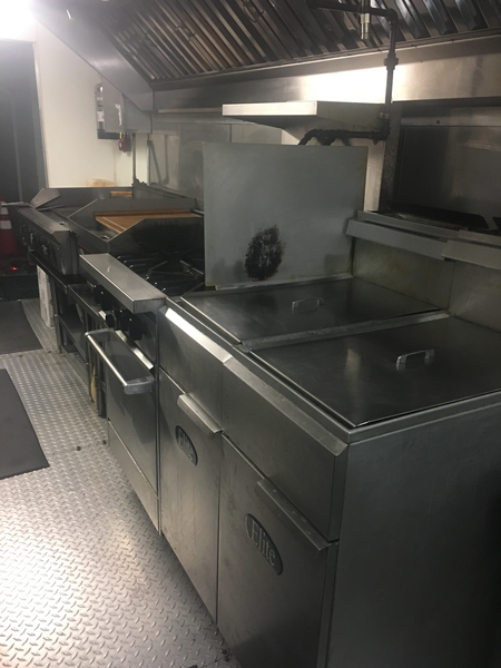 Fryers and Stovetop in Food Trailer