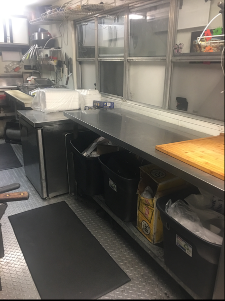 Diamond Plate Flooring and Tables in Food Trailer