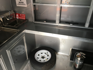 Inside view of trailer and serving window