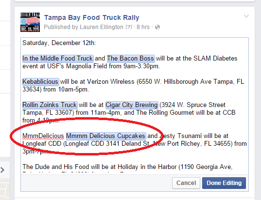 Tagging Food Trucks on Facebook